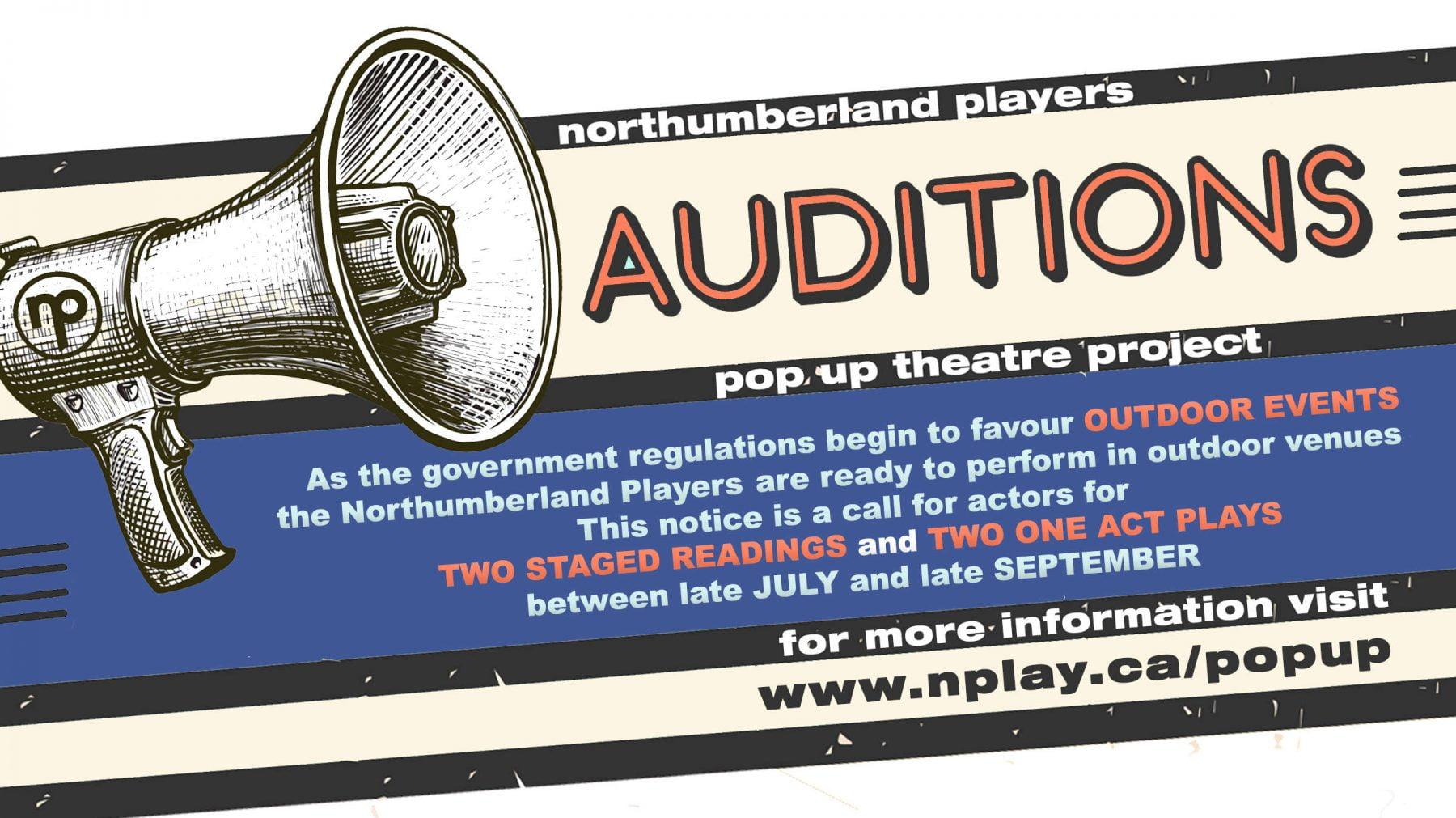 Banner announcing auditions for the 2021 Summer Pop Up Theatre Series