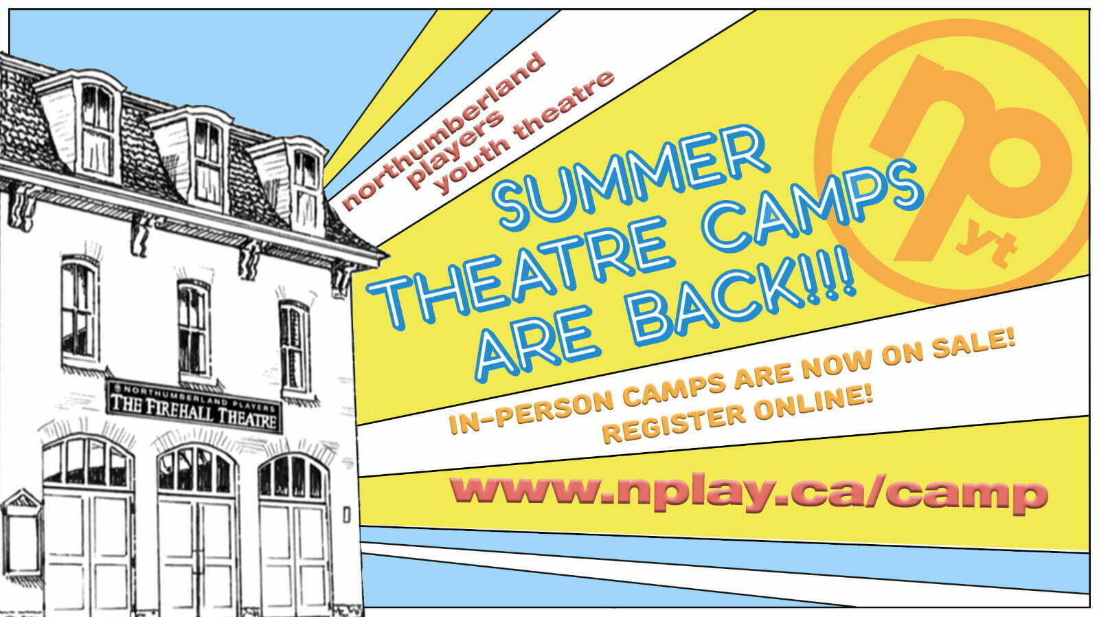 Banner promoting 2021 Summer Theatre Camps