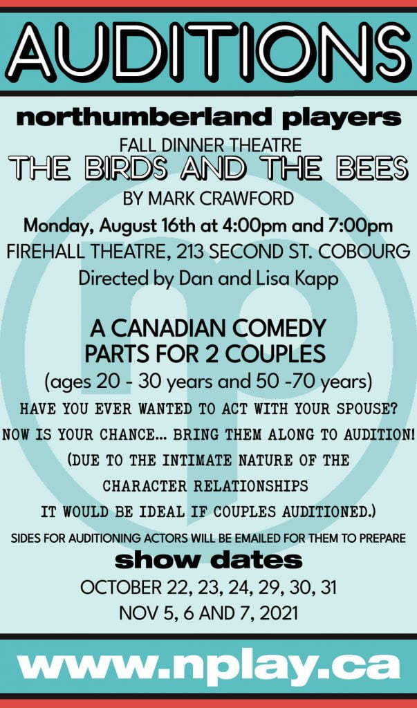 """Auditions poster for """"The Birds and the Bees"""""""