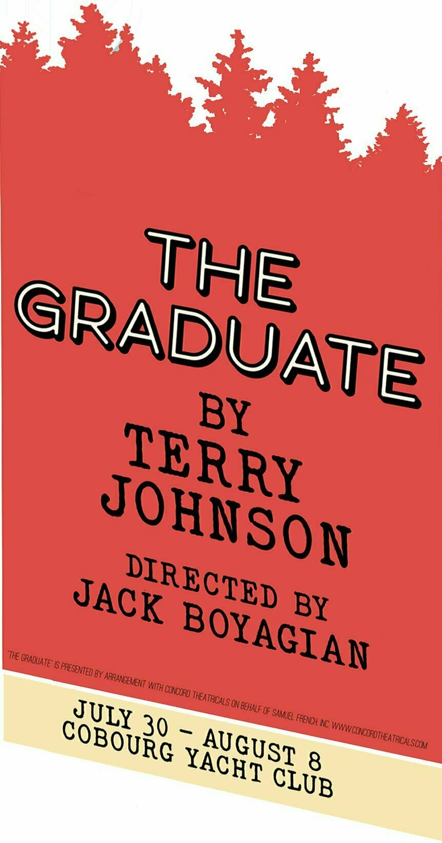 """Poster for """"The Graduate"""", part of the 2021 Pop Up Theatre Project"""